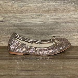 NEW Sam Edelman Felicia Gold Glitter Flat Sz- 7.5